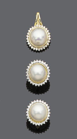 A pair of mabé pearl and diamond cluster earstud and pendant