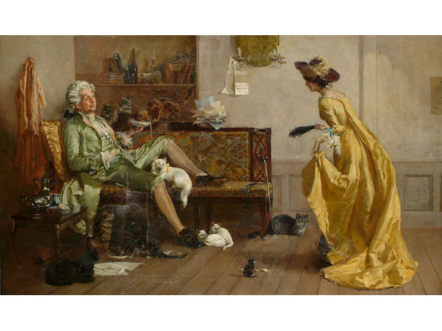 Percy Thomas MacQuoid  (British 1852-1925) Peg Woffington visiting an eccentric cat lover, 72 x 118 cm (28 1/4 x 46 1/2 in)