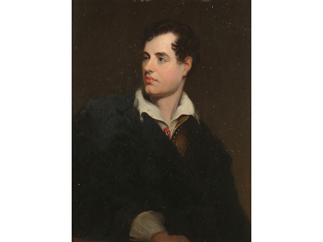 John Lewis Reilly (British, fl.1857-1866) A portrait of Lord Byron, 28 x 21cm (11 x 8 1/4in)