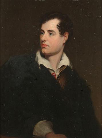 John Lewis Reilly (British, fl.1857-1866) A portrait of Lord Byron, 28 x 21cm (11 x 8 1/4in)