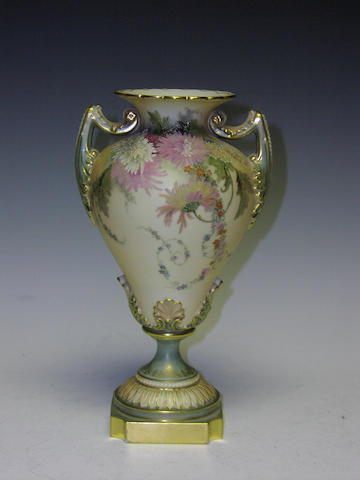 A Royal Worcester blush ivory vase, dated 1899,