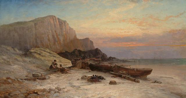 George Augustus Williams (British 1814-1901) Evening on the coast, 40.5 x 73.5cm (16 x 29in)