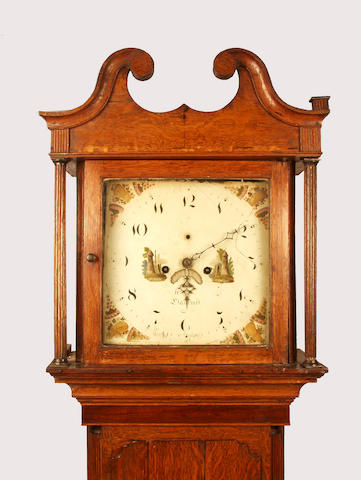 An oak cased eight day longcase clock with painted dial indistinctly signed Llancroft,