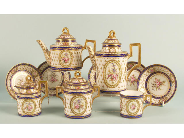 A French porcelain coffee service 19th Century,