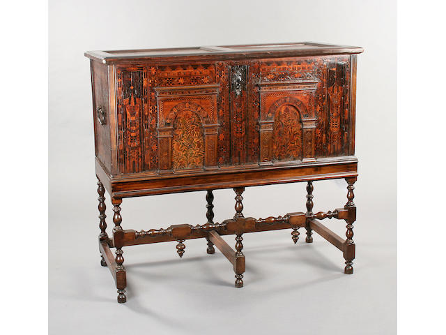 A late 16th Century oak and deal and marquetry inlaid Nonesuch chest