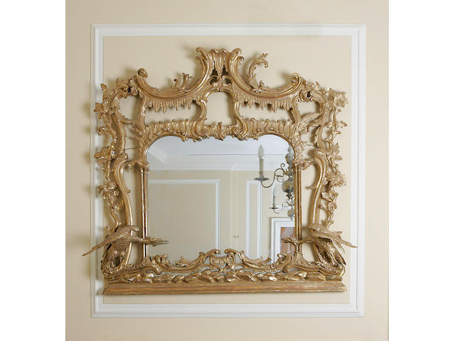 A 19th century gilt carved overmantle mirror in the Chippendale style