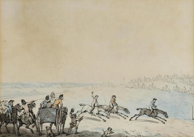 Thomas Rowlandson (British, 1756-1827) The horse race 16 x 22.5 cm. (6 1/4 x 8 3/4 in.)