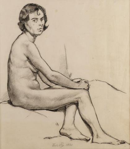 Theo van Rysselberghe (1862-1926) Seated female nude 44 x 39 cm. (17 1/4 x 15 3/8 in.)