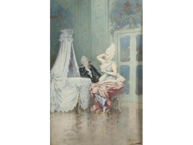 Giuseppe Aureli (Italian, 1858-1929) An admiring glance, 45.2 x 29cm (17 3/4 x 11 1/4in)