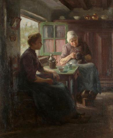 Roland Lary (Dutch, 1855-1932) A quiet afternoon, 58 x 48cm (22 3/4 x 18 7/8in)