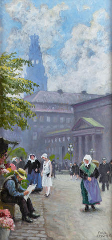 Paul Gustave Fischer (Danish 1860-1934) The flower seller 37 x 18.5 cm. (14 1/2 x 7 1/4 in.)