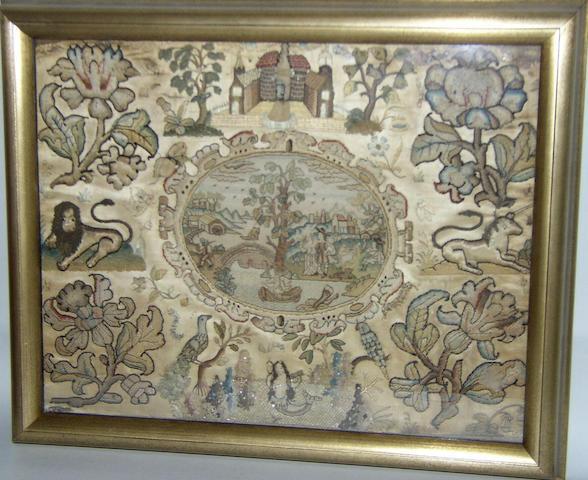 A mid 17th century stumpwork and petitpoint panel,