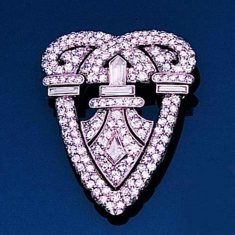 An art deco diamond clip brooch,