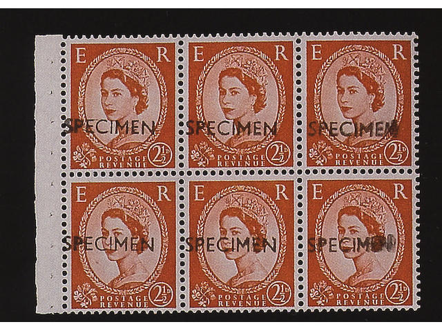 "1958-65 wmk. Crowns: 2½d. on cream paper booklet pane of six, each optd. ""SPECIMEN"", as from the N.P.M., fine (338)"