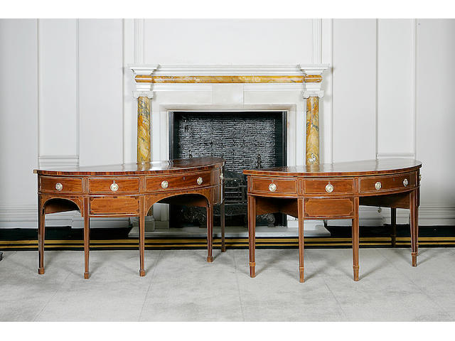 A pair of  mahogany and boxwood line inlaid demi-lune sideboards