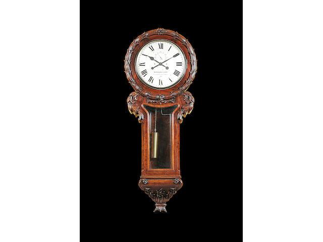 A mid 19th century mahogany wall clock Barraud & Lund, Cornhill, London, 1659
