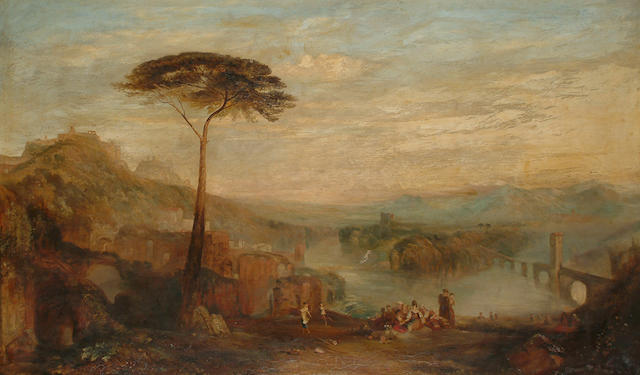 English School, 19th Century, After Joseph Mallord William Turner A Italian landscape with figures at leisure, 75 x 125cm (29 1/2 x 49 1/4in)