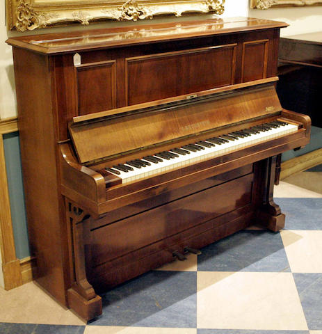 A Bechstein mahogany upright overstrung piano