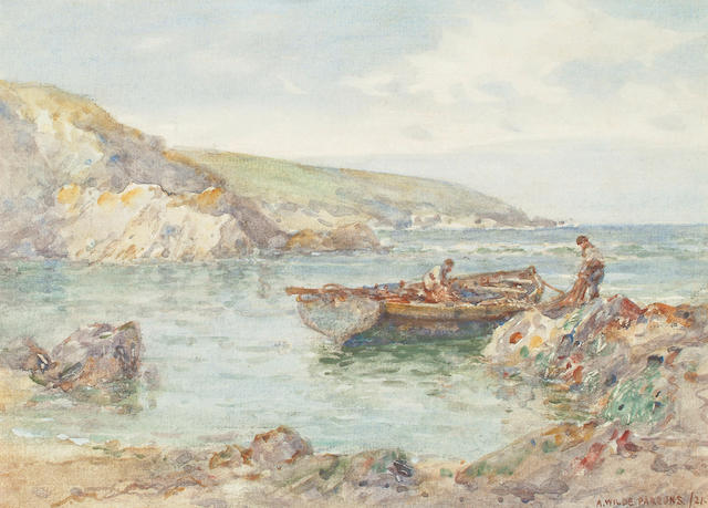 Arthur Wilde Parsons (British, 1854-1931)  Fishermen preparing the nets on a rocky coast, 26.7 x 36.5cm (10 1/2 x 14 3/8in)