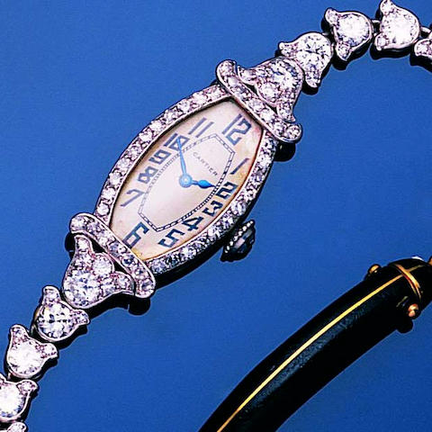 An art deco diamond wristwatch,, by Cartier,