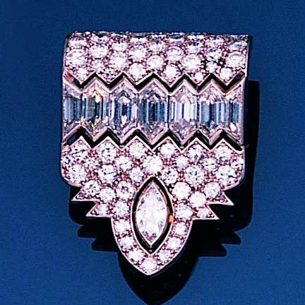 An art deco diamond clip brooch,