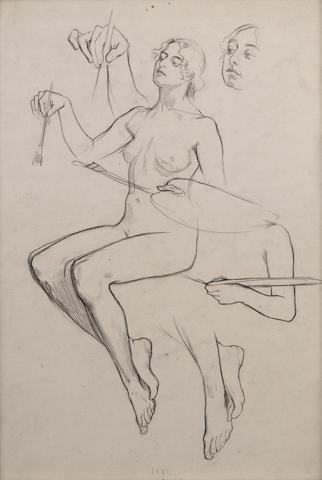 Alphonse Mucha (1860-1939) Female nude 28 x 19.5 cm. (11 x 7 5/8 in.)