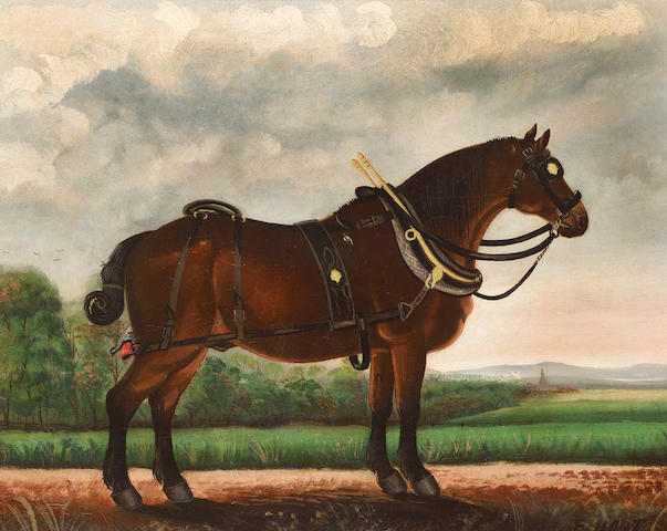 E. Hort (British 19th century) A heavy horse in a landscape 43.1 x 53.3 cm. (17 x 21 in.)