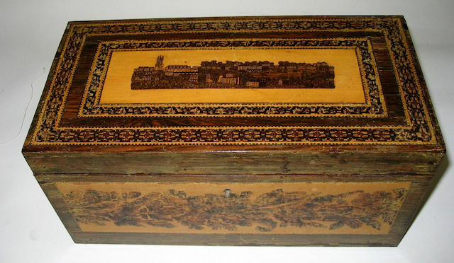 An unusual 19th century Tunbridge ware rectangular rosewood tea caddy