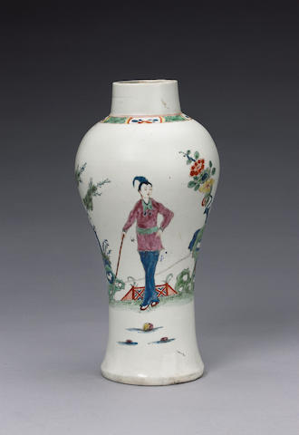An important early Worcester baluster vase circa 1752-3