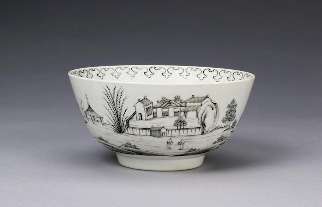 A rare Worcester pencilled bowl circa 1755-6