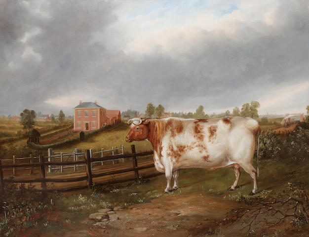 J. Windle (British 19th century) A prize heifer in a landscape with a locomotive, farm house and oast House in the distance 71.1 x 91.4 cm. (28 x 36 in.)