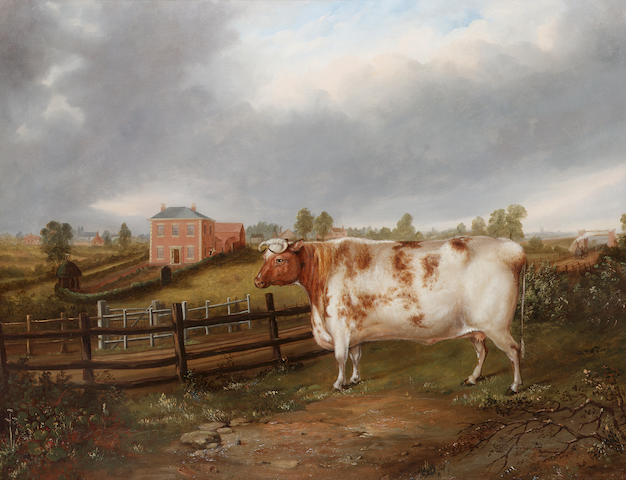 J. Windle (British, 19th. Century) A Prize heifer in a landscape with a locomotive, farm house and O