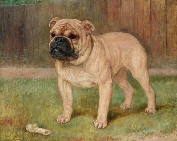 Kate Sowerby (British fl. 1883-1900) A bulldog with a bone 52.7 x 65.4 cm. (20 3/4 x 25 3/4 in.)