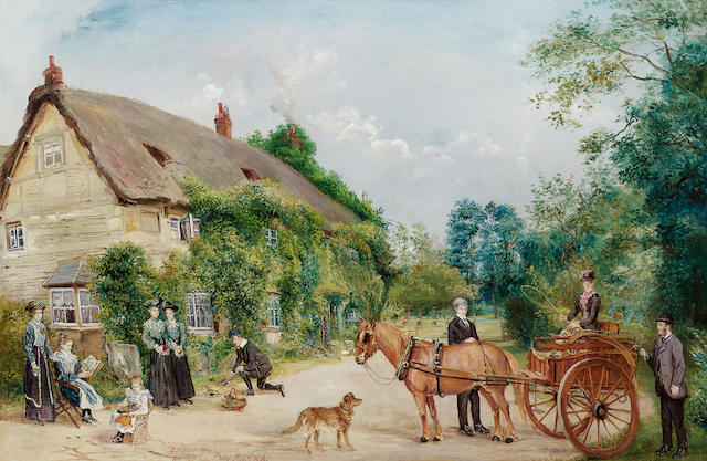 Edwin Frederick Holt (British 1830-1912) A pony and trap in front of cottages 40.7 x 61 cm. (16 x 24 in.)