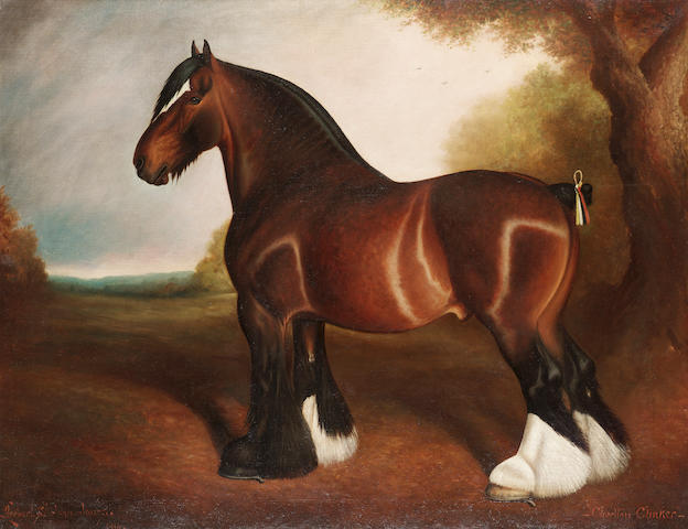 Herbert St. John Jones (British, 19th./20th. Century) The Shire Stallion 'Chorlton Clinker' 71 x 91.