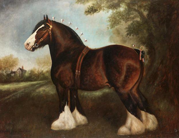 Herbert St. John Jones (British 19th/20th century) The Shire stallion 'Chorlton Fear None' 69.8 x 91.4 cm. (27 1/2 x 36 in.)