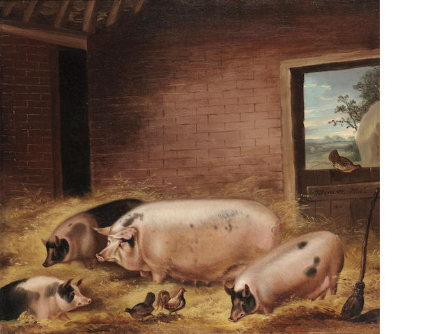 Thomas Weaver (British, 1774-1843) Four pigs with chickens in a barn 48.2 x 53.3cm. (19 x 21in.)