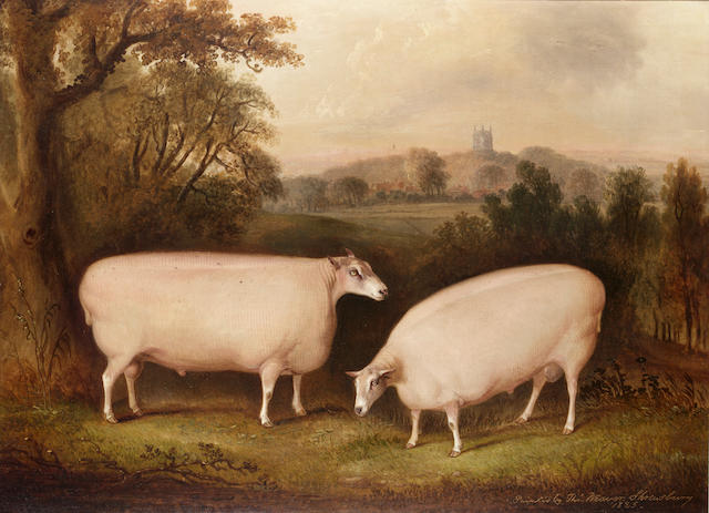 Thomas Weaver (British, 1774-1843) Two Leicester rams in a landscape 55.8 x 76.2cm. (22 x 30in.)