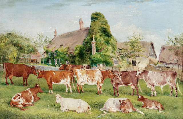 Edwin Frederick Holt (British 1830-1912) Shorthorn cattle in a landscape with farm buildings beyond 40.7 x 61 cm. (16 x 24 in.)