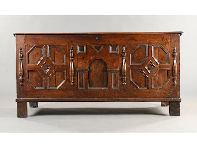 A mid 17th Century oak coffer