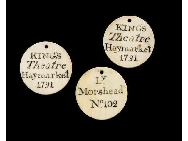 Three 18th century ivory theatre tickets,