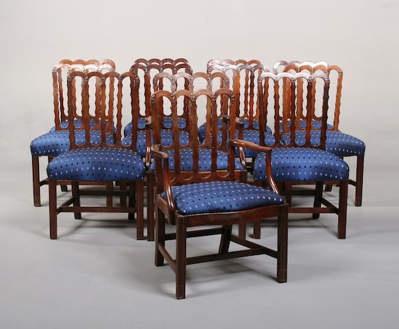 A matched set of twelve mahogany dining chairs