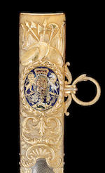 A Magnificent And Extremely Rare Royal Gold And Enamel Mounted Sword Presented By H.R.H. The Prince