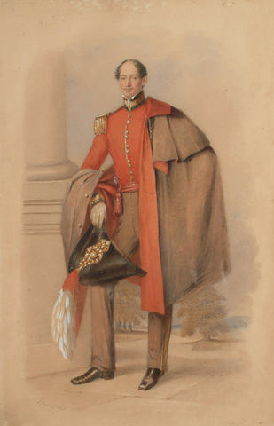 Aaron Edwin Penley (British, 1807-1870) William Conway Gordon (1798-1882), full-length, wearing the uniform of an A.D.C., 35 x 23cm (13 3/4 x 9 1/8in)