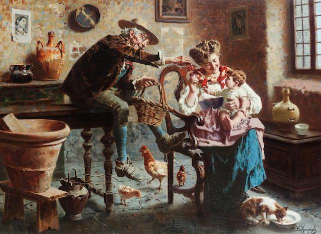 Eugenio Zampighi (Italian 1859-1944) Baby's cherries 56 x 77 cm. (22 x 30 1/4 in.)