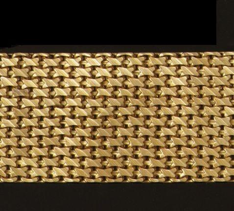 A broad mesh-link bracelet