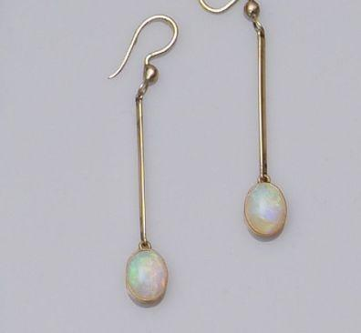 A pair of opal earpendants