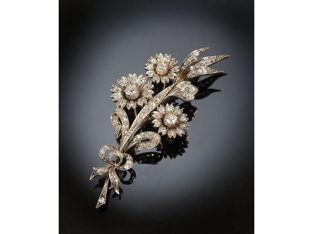 A Victorian gold and silver mounted diamond floral spray brooch