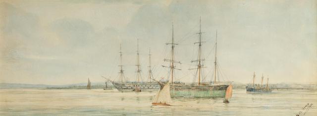 Henry Branston Freer (British, 19th/20th. Century) Tidal Thames 10.8 x 30.5cm. (4 1/4 x 12in.)