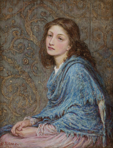 Helen Allingham (née Paterson) (British, 1848-1926) Girl seated in blue 23 x 18 cm. (9 x 7 in.)